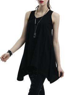 Doublju Womens Sleeveless Tunic with Flare Hem Line at Amazon Women's Clothing store: Tunic Shirts   Black