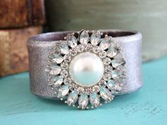 Silver Flower Leather Cuff - Ever Designs Jewelry