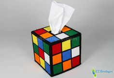 Rubik's Cube Tissue Box Cover--big bang!