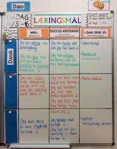 Dagens læringsmål i 3 klasse dansk - Der bliver så småt puttet taksonomerede succeskriterier ind, så eleverne vænner sig til at arbejde udfra delmål hen til selv målet :-)