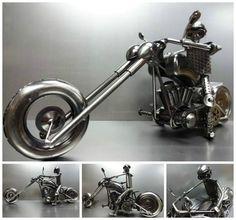 http://www.ebay.co.uk/itm/RARE-MOTORCYCLE-CUSTOM-BIKE-CHOPPER-HandMade-SCRAP-GUN-METAL-MODEL-ART-SCULPTURE-/291023328447