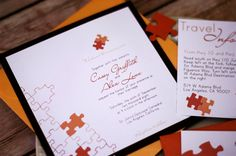 Puzzle Piece Wedding Invitation by NINE7OHDESIGNS on Etsy