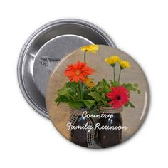 Personalized Mason Jar Daisy Family Reunion Buttons This country Family Reunion product features floral nature photography of mason jars filled with beautiful spring Gerbera Daisies in yellow, orange and pink with a tan linen background. Great for an floral, spring, summer, country theme, or rustic reunion. #family #reunion #masonjar