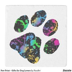 Paw Print - Gifts for Dog Lovers Stone Coaster - dog puppy dogs doggy pup hound love pet best friend Quirky Gifts, Love Gifts, Unique Gifts, Cat Dad, Dog Mom, Paw Print Art, Stone Coasters, Love Pet, Cool Pets