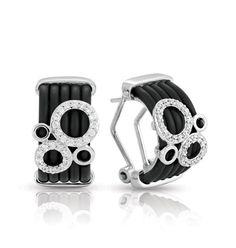 Equinox Black Earrings by Belle Etoile. 925 Sterling Silver. Italian Rubber. Fashion Jewelry.