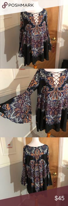 Free people printed dress Bell sleeve dress lace up mini dress runs more like medium Free People Dresses Mini