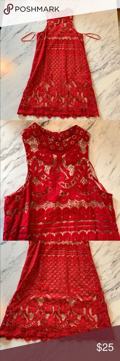71b40bd234 Red Lace Francesca s Dress Small WORN 1x Beautiful dress in brand new  condition. Worn for