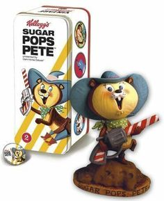 """Classic Kelloggs Character Statue #2: Sugar Pops Pete by Diamond Comic Distributors - Dropship. $19.58. Based on one of Kellogg's most recognizable icons. Limited to 500 pieces, this collectible recalls the 1940s sculpting and painting style of """"syrocco"""" statues. Comes in a special litho-printed full-color tin box with a vintage-style pinback button and booklet. From the Manufacturer                Toting his sugar-spraying pistol, Sugar Pops Pete made Kellogg's Sugar..."""