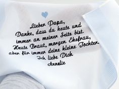 Besticktes Herrentaschentuch als Gastgeschenk und Dankeschön an den Brautvater. Ein nettes Geschenk und eine schöne Erinnerung an den besonderen Tag für den Vater der Braut. Dieses Angebot gilt...