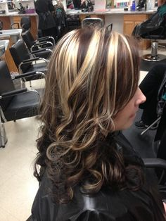 Color Black Hair With Blonde Highlights Chunky Brown