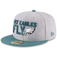 b9d12e3ee40 Philadelphia Eagles New Era Youth 2018 NFL Draft Official On-Stage Snapback  Adjustable Hat – Heather Gray Green