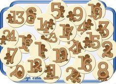 24 Button,Adventszahlen,Adventskalender Lebkuchen von Jasuki auf DaWanda.com