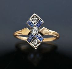 This is not contemporary - image from a gallery of vintage and/or antique objects. Sapphire Diamond, Blue Sapphire, Blue Gem, Blue Rings, Gold Rings, Belle Epoch, Engagement Ring Prices, Antique Wedding Rings, European Cut Diamonds