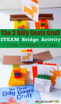 The Three Billy Goats Gruff STEAM Bridge Building Activity for Kids. Students help the Three Billy Goats Gruff escape by building a bridge strong enough. This is a fun hands on activity for preschoolers and kindergarteners. Fairy Tale Activities, Steam Activities, Preschool Activities, Stem Preschool, Book Activities, Winter Activities, Outdoor Activities, Nursery Rhymes Preschool, Kindergarten Stem