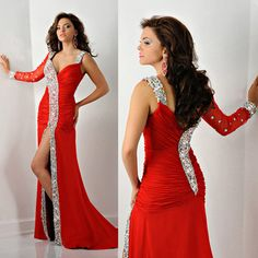 Luxury Red Sexy High Split Women One Shoulder Long Prom Dress Formal Evening Dresses Chiffon Crystals E6201