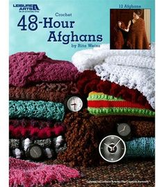 Create lovely shawls, stadium blankets, throws and lap robes with the Leisure Arts 48-Hour Afghans book. Designed using bulky yarns and large hooks, these creations can be wonderful holiday gifts for