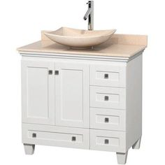Wyndham Collection Acclaim 36 inch Single Bathroom Vanity in White, Ivory Marble Countertop, Arista Ivory Marble Sink, and No Mirror, Beige