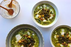 fresh herb, bean and noodle persian soup
