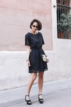 Embroidery Dress. LBD. Little Black Dress. Platform Sandals. Cat Bag - style in lima