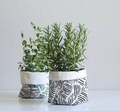 Zana black and white silk screen print planters