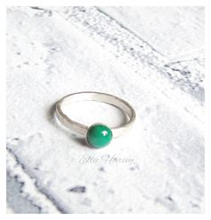 Green Stone Ring, Stacking Ring, Agate Ring, Gifts for her, jewellery for her, spring trends, spring finds, Silver ring, Solitaire Ring, by EllieHarveySilver on Etsy