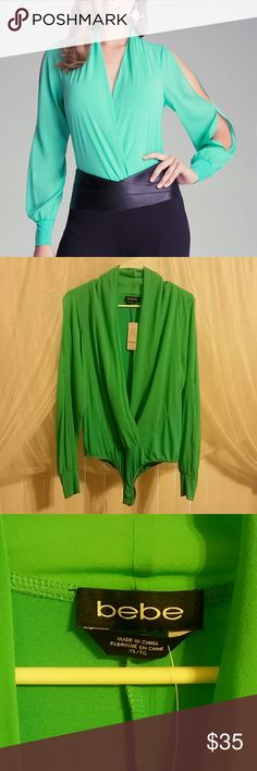 """😍💓 Bebe Silk Bodysuit 💓😍 NWT Bebe long sleeve wrap style silk bodysuit in green/aqua color. The lighting in my bedroom is not the best, it is not as green in person as in the pics. But beautiful all the same! I can't do the """"tucked-in"""" look very well, so she is looking for a new home. Never been worn, tags still attached. True to size in Bebe sizing. Great for work! Scoop it up ladies 😍😍 bebe Tops Blouses"""