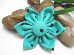 Brown and Blue Large Fabric Hair Clip by LemonandBees on Etsy, $5.00