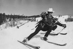 Steamboat ski school instructors Al Tiegert, front, and Wayne Westphale (not to be confused with the contemporary Steamboat attorney of the same name), sport cowboy hats and slick blue jackets while posing for a photographer circa 1973