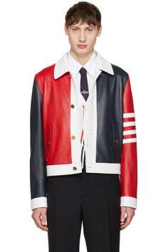 4448b88c01f3 Thom Browne - Tricolor Leather Harrington Jacket Harrington Jacket