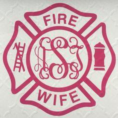 Fire Wife Monogram Decal Car Sticker Fire by BlueStringBoutique