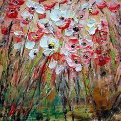 FLOWERS FIELD Original Oil Painting on Canvas Xmas by LUIZAVIZOLI, $59.00