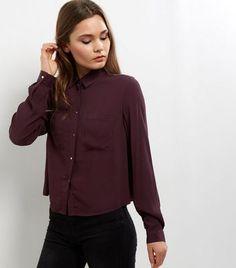 Dark Purple Long Sleeve Cropped Shirt