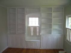 Custom Made Built-in architectural bookcase unit with base cabinets and window seat Bookshelves Built In, Built In Desk, Built In Storage, Built Ins, Bookcases, Custom Kitchen Cabinets, Base Cabinets, Bathroom Cabinets, Bedroom Sitting Room