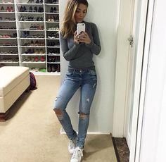 Jeans rasgados Mariana Sampaio
