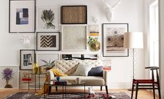I love the west elm LIVING ROOM LOOKS on westelm.com Will use the Gallery wall 0 h+e as a template for my wall