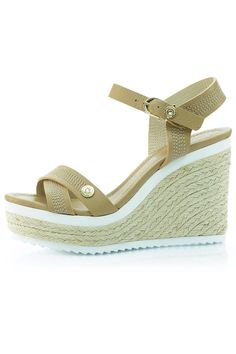 """This gorgeous wedge from Luis Onofre features Swarovski crystals at the toe and ankle, as well as raffia trim on the wedge. The color blocking of the tan leather, white accents, and beige raffia make this shoe super stylish. Contrast stitching on the crisscrossed toe and ankle straps brings some extra interest to the table as well.    The heel height is 4"""" with a 1.5"""" platform.   Tan Leather Wedge by Luis Onofre. Shoes - Wedges South Carolina"""