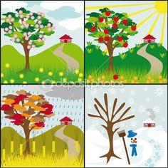 Slikovni rezultat za clip art four seasons Seasons Poem, Seasons Of The Year, Four Seasons, Beautiful Landscape Wallpaper, Landscape Artwork, Beautiful Landscapes, Drawing For Beginners, Drawing For Kids, Preschool Weekly Themes