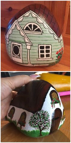 Painted Rock Fairy Houses All The Best Ideas Gemalte Felsen-Fee bringt alle besten Ideen unter Rock Painting Patterns, Rock Painting Ideas Easy, Rock Painting Designs, Paint Designs, Pebble Painting, Pebble Art, Stone Painting, Painted Rocks Craft, Hand Painted Rocks