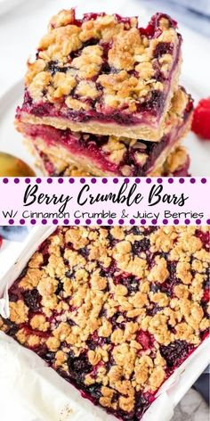 Buttery oatmeal crumbles and sweet juicy berries make these Mixed Berry Crumble Bars impossible to resist These bars use the same mixture for the oatmeal base and cr. Blueberry Desserts, Köstliche Desserts, Delicious Desserts, Dessert Recipes, Yummy Food, Blueberry Crumble Bars, Blueberry Crisp, Strawberry Blueberry, Plated Desserts