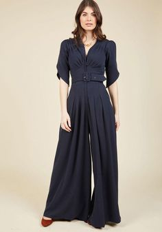 #ModCloth - #Miss Candyfloss Miss Candyfloss The Embolden Age Jumpsuit in Midnight in 3X - AdoreWe.com