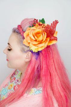 Handmade Red Bird Large Flower Hair Accessory - Silly Old Sea DogSilly Old Sea Dog