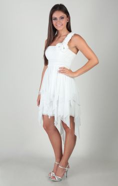 one shoulder dress with rosette strap and tendril high low skirt