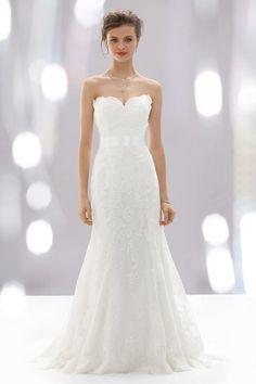 ♥LANG Modisches Brautkleid Hochzeitskleid aus Spitze, im Empire Style+Trägerlos♥