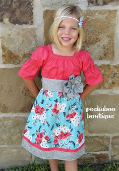 MADE to ORDER 3/4 sleeve Peasant dress with flower sash--Coral Market Fancy Madison style Dress. $45.00, via Etsy.
