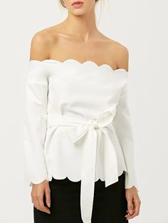 Blouses&Shirts | White Off The Shoulder Scalloped Bowknot Blouse - Gamiss