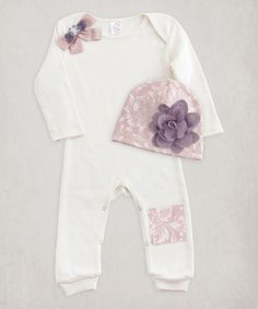 Love this Ivory & Rose Thistle Floral Romper & Cap - Infant on #zulily! #zulilyfinds
