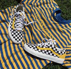 guess jeans u s a vans old skool with yellow stripe n black n white cell print #vans #guess #oldskool #jeans