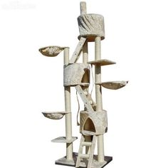 Cat Tree 244cm Multi Level Kitten Furniture Scratching Pole Climbing Post House Condo