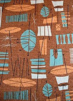 'Tiki Nature' pattern, on barkcloth