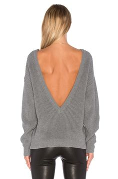 Callahan V Back Sweater in Heather Grey | REVOLVE